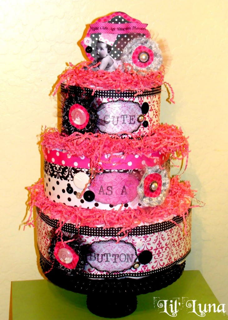 Cute Scrapbook Paper Diaper Cake Tutorial