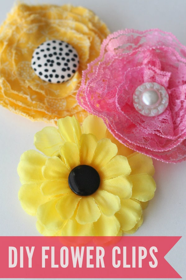 How to make CUTE and INEXPENSIVE DIY Flower Clips { lilluna.com } So easy to make!!