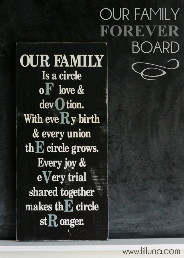 Our Family Forever Board on { lilluna.com }