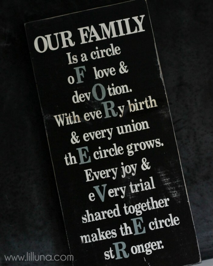 How to make this cute, Our Family Forever Board on { lilluna.com }. It's a great display in any home!