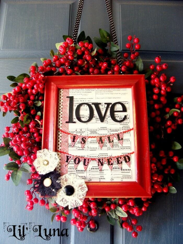 Cute Valentine Wreath and Frame from { lilluna.com }