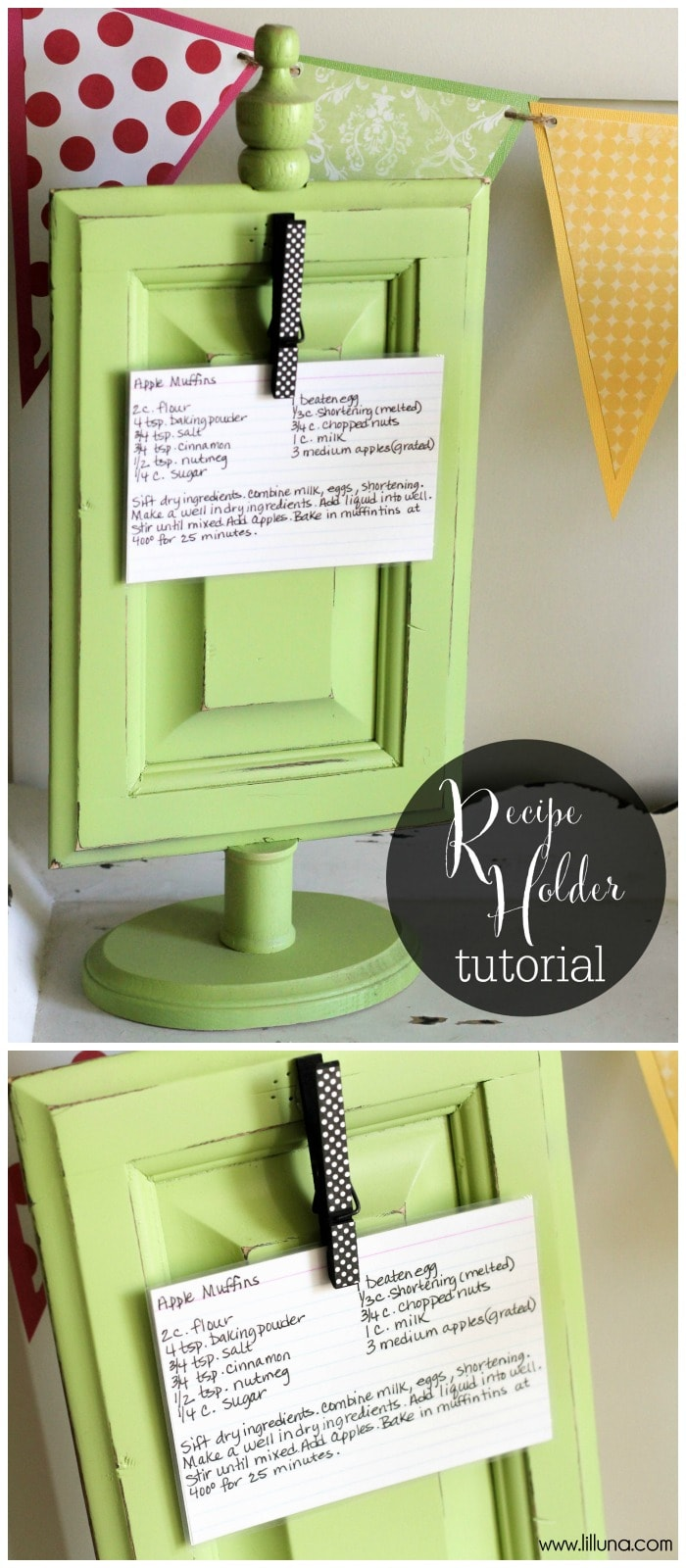 Super cute and easy Recipe Holder tutorial { lilluna.com }