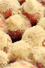 Cream Stuffed Strawberries with Graham Cracker Crumbs on top - oh, yum!!