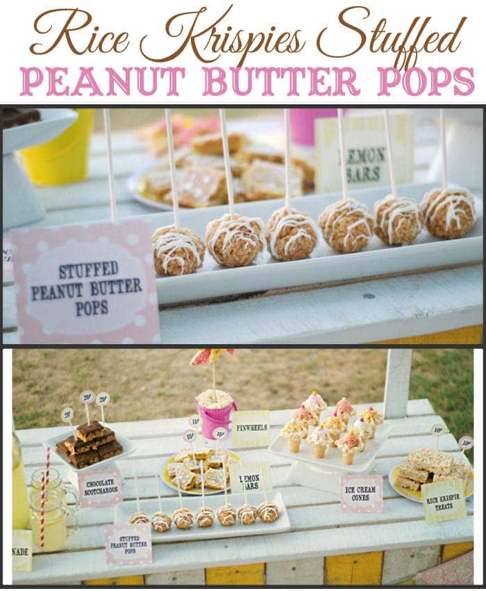 Rice Krispies Stuffed Peanut Butter Pops - Rice Krispies stuffed with White Reeses! YUMMY!