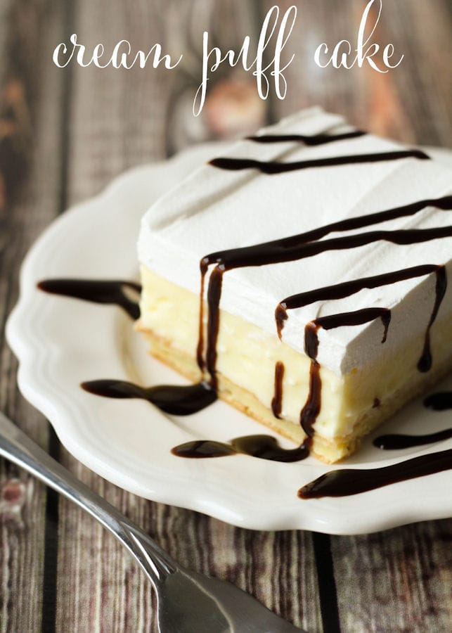 The BEST Cream Puff Cake ever!! Such an easy recipe and always a favorite! Cool whip, chocolate syrup, vanilla pudding, and cream cheese - yummy!!