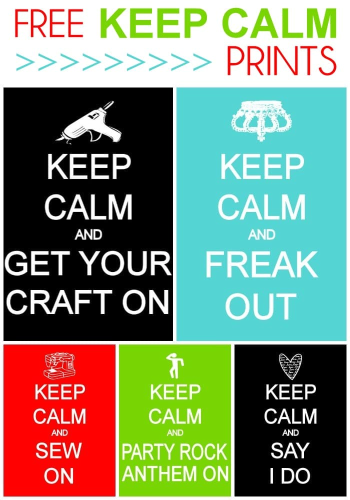 FREE Random Keep Calm Prints on { lilluna.com } Lots of variety and colors!!