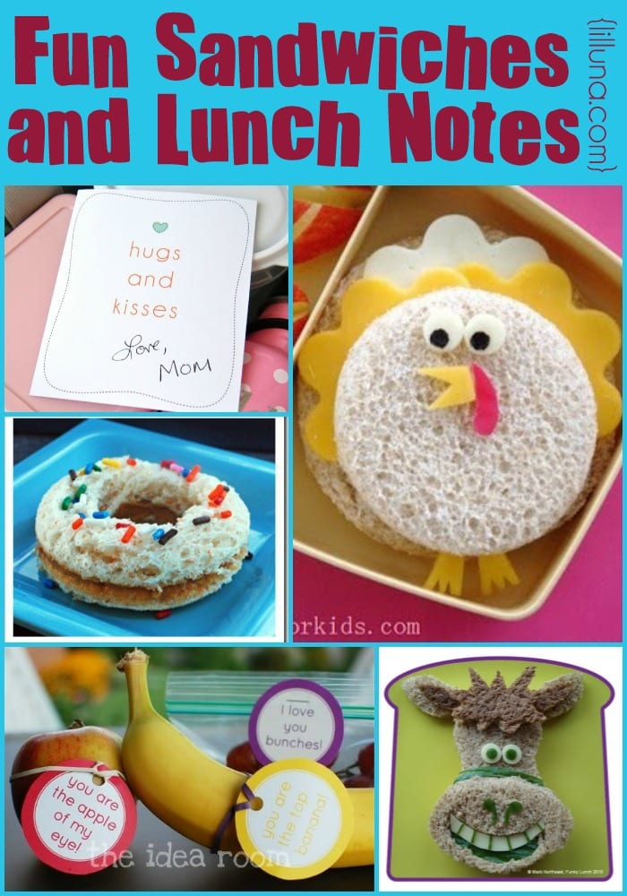 Fun Sandwiches and Lunch Notes to send your kid to school with. It's that time of year again! { lilluna.com }