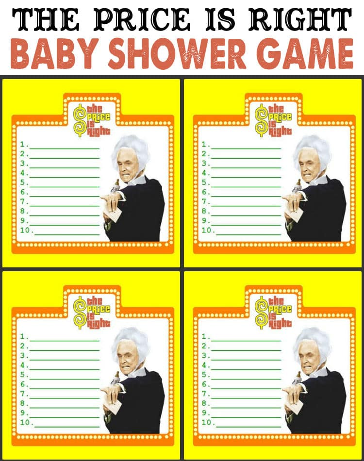 the price is right baby shower game too funny free prints on