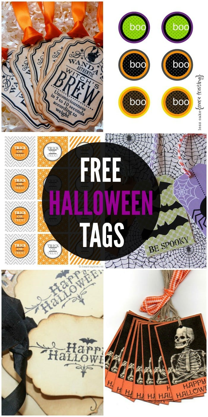 FREE Halloween Tags - a collection of free printable tags on { lilluna.com } Attach them to all your Halloween goodies and gifts!