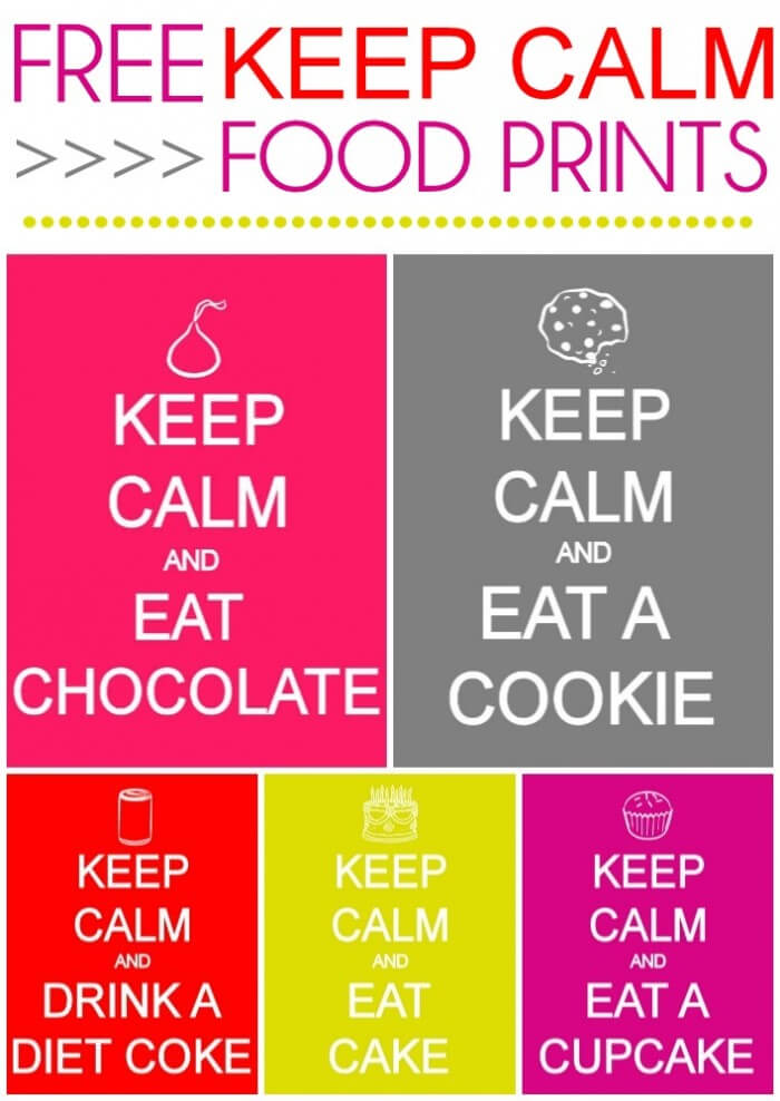 Free Keep Calm Food Prints on { lilluna.com } Lots of colors!!