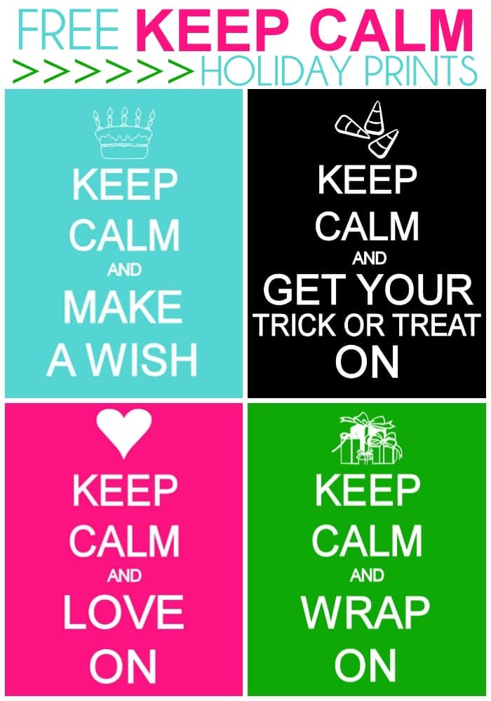 Free Keep Calm Holiday Prints on { lilluna.com } Lots of variety and colors!!