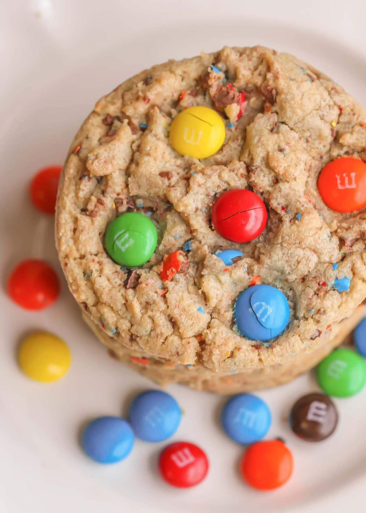 M&M Cookie Recipe - on plate.