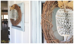 How to make a super cute and easy Framed Pumpkin Wreath { lilluna.com } Few supplies needed to make this adorable fall decor!!