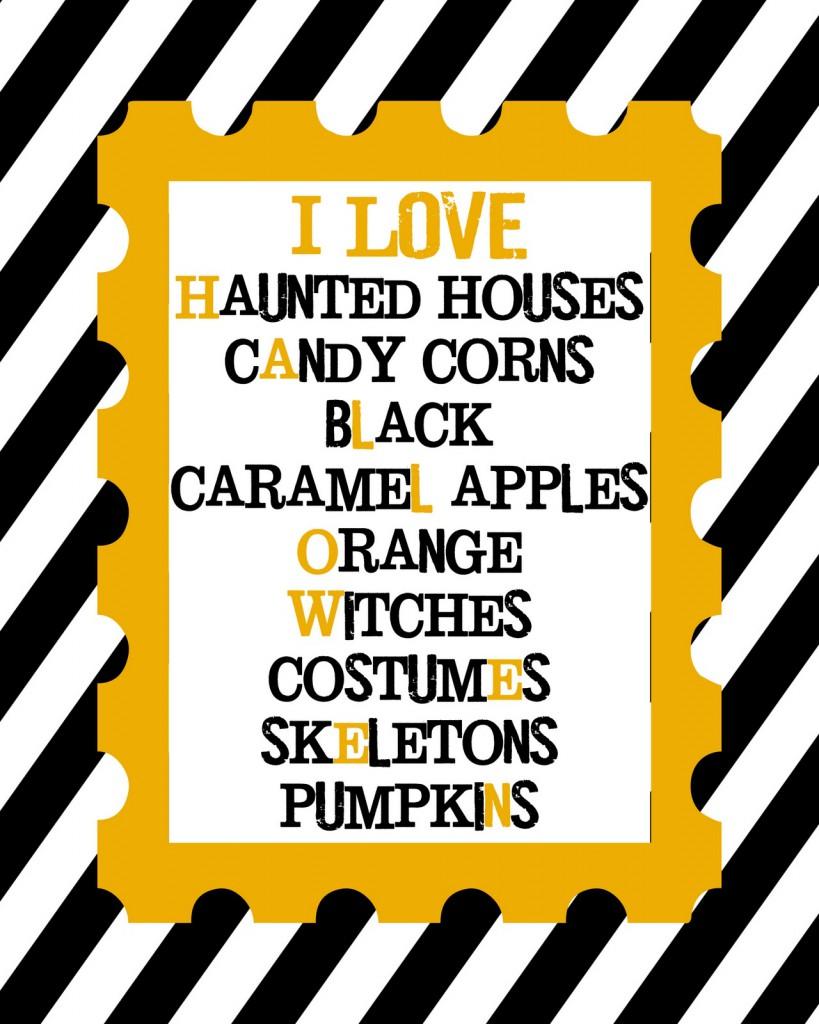 I LOVE Halloween Print on { lilluna.com }