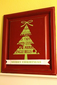 Cabinet Door Christmas Tree Sign from { lilluna.com }