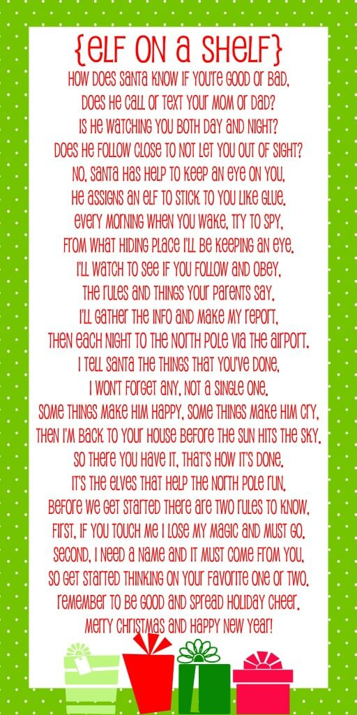 FREE Elf on the Shelf Poem - Download at { lilluna.com } Your kids will love this!