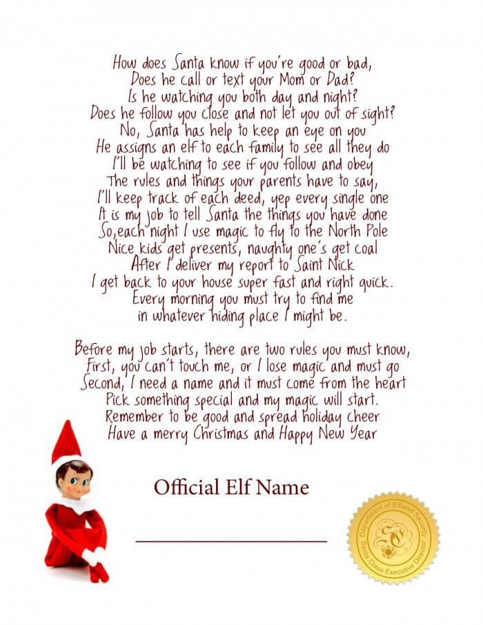 Dramatic image pertaining to elf on the shelf printable letter