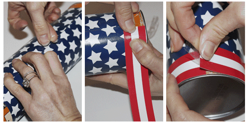 Fun Fourth of July Firework Favors tutorial on { lilluna.com } Favors made from a pringles can!!