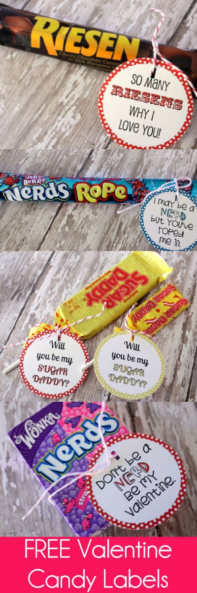 Free Valentine Candy Labels on { lilluna.com } So many fun candy ideas!