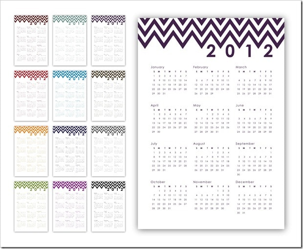 Cute Chevron Printable Calendar from Sprik Space!