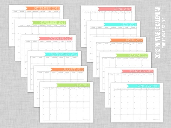 Printable Calendar from The TomKat Studio!!