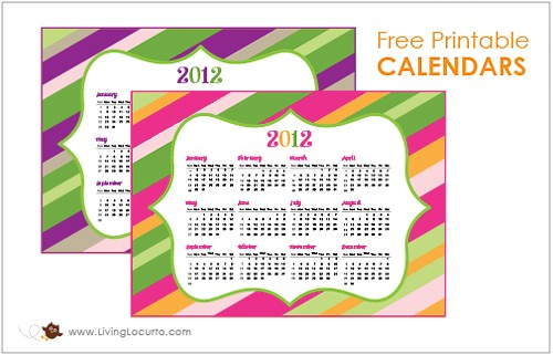 FREE Printable Calendar from Living Locurto