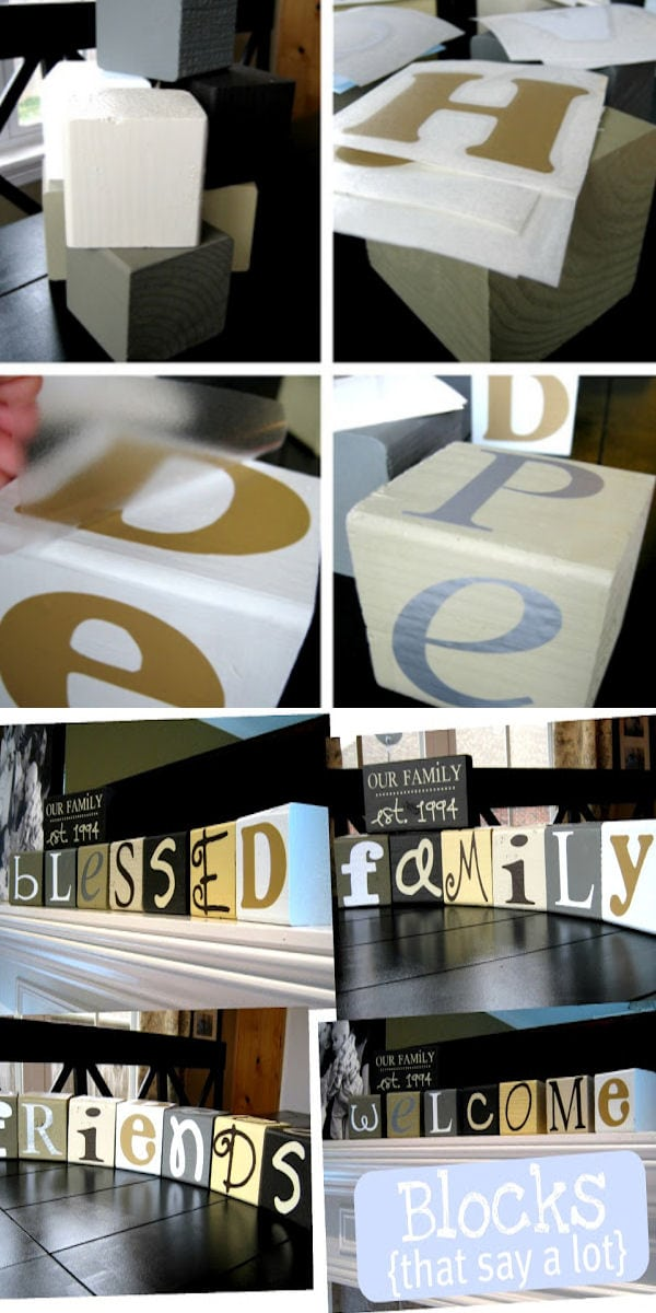 Wood Blocks Craft! This tutorial shows you how you can make so many words using only 7 blocks! { lilluna.com }