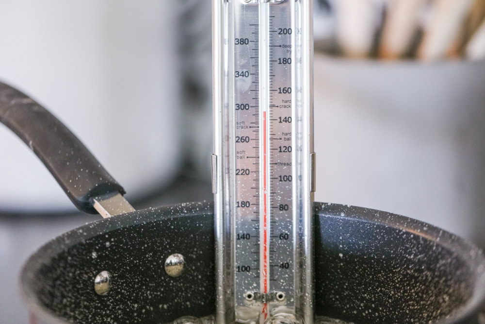 A candy thermometer used to indicate the right temperature of the candy mixture