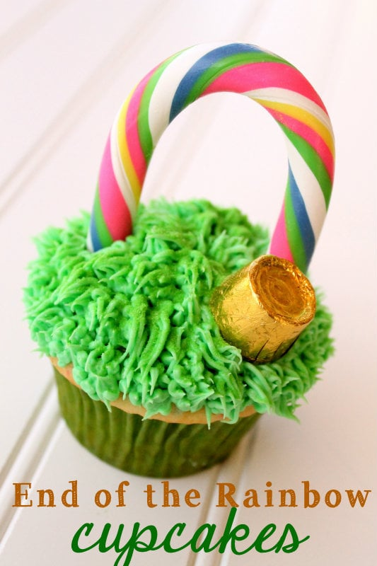 End of the Rainbow Cupcakes. Cute and easy. Recipe and tutorial on { lilluna.com } Funfetti cupcakes with green frosting, Wilton cupcake Easter Basket kit, rolo's or gold coins, and your grass tip.