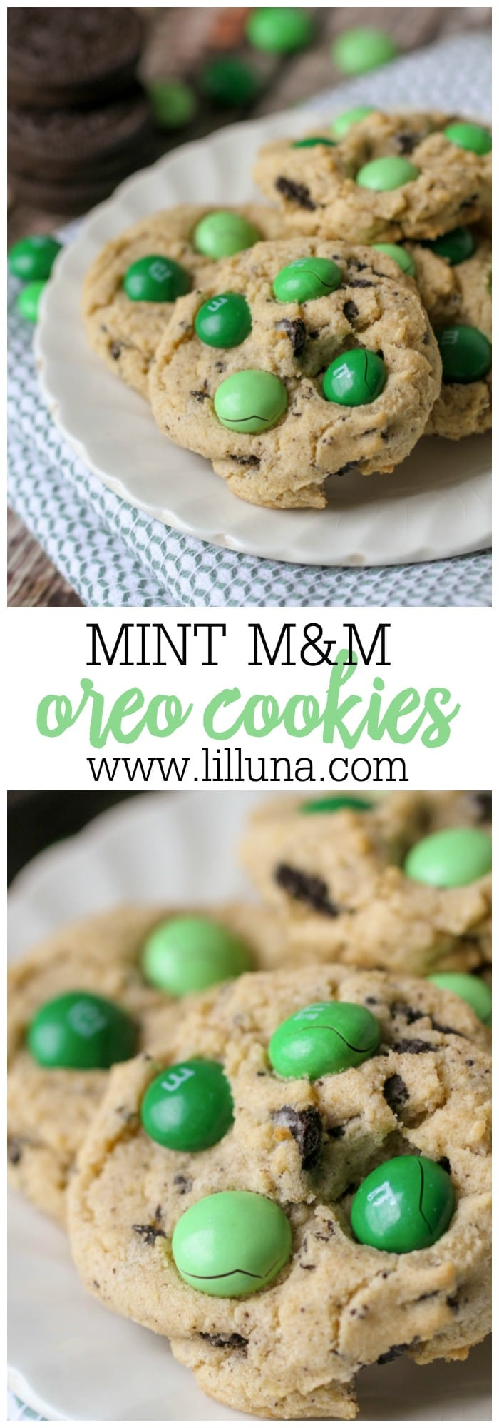 Mint M&M Oreo Cookies that taste JUST like Thin Mints!! The combination of the chocolate in the Oreos with the mint flavor in the M&M's make for one DELICIOUS cookie!!
