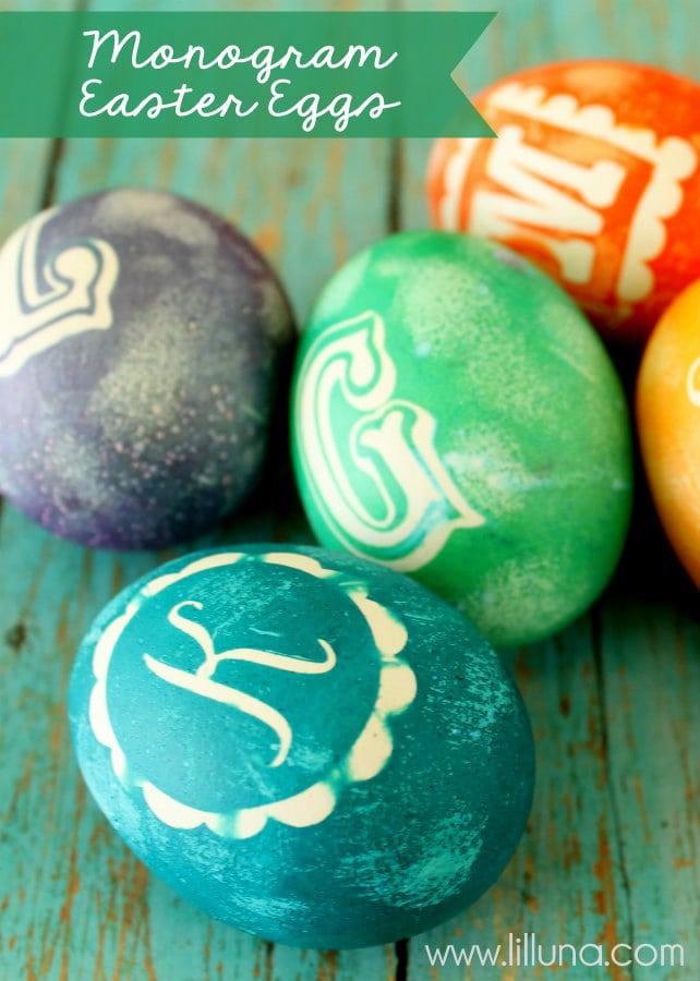 Monogram Easter Eggs - so cute! Tutorial on { lilluna.com }