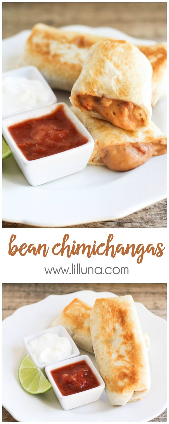 Easy and Delicious Bean Chimichangas - tastes just like the ones at the restaurants!! { lilluna.com }