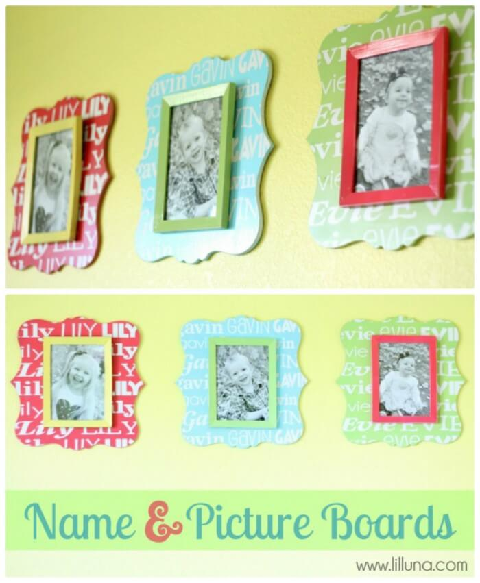 Custom Name and Picture Boards. Such a cute idea!