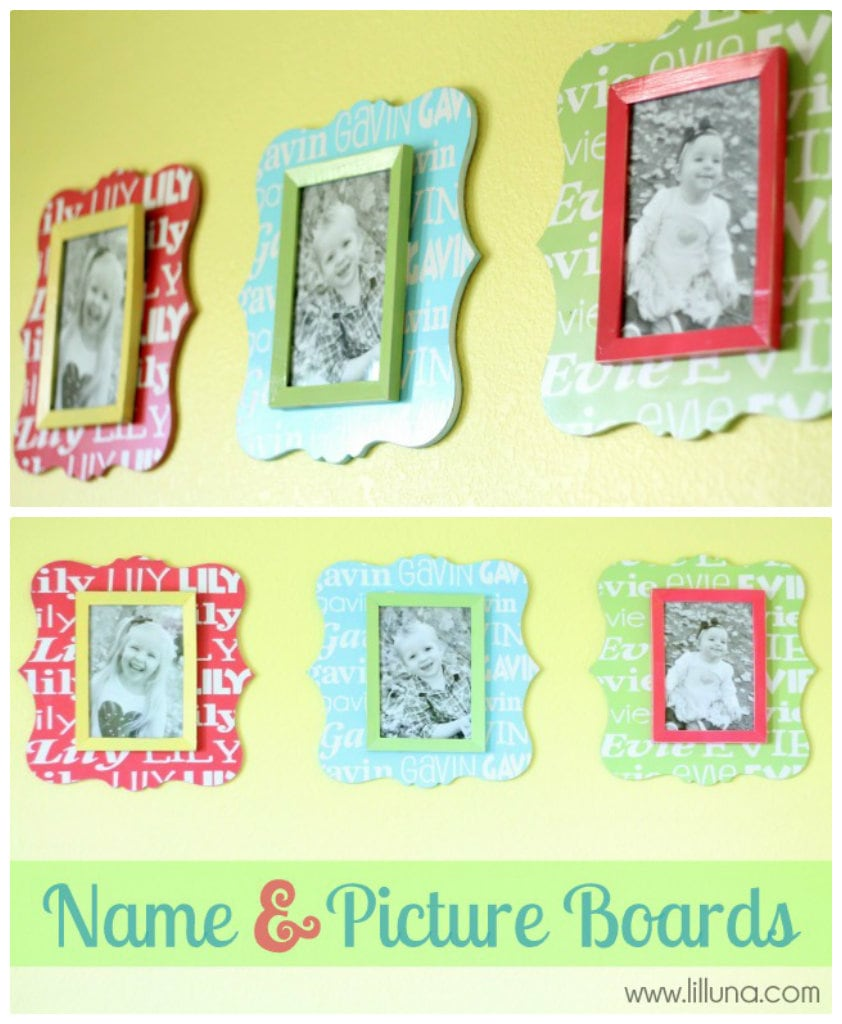 Custom Name and Picture Boards Tutorial. Such a cute idea! Easy and great decor!