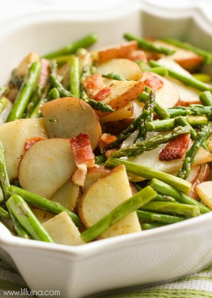 One of our favorite side dishes - Asparagus Tater toss with bacon! Recipe on { lilluna.com }