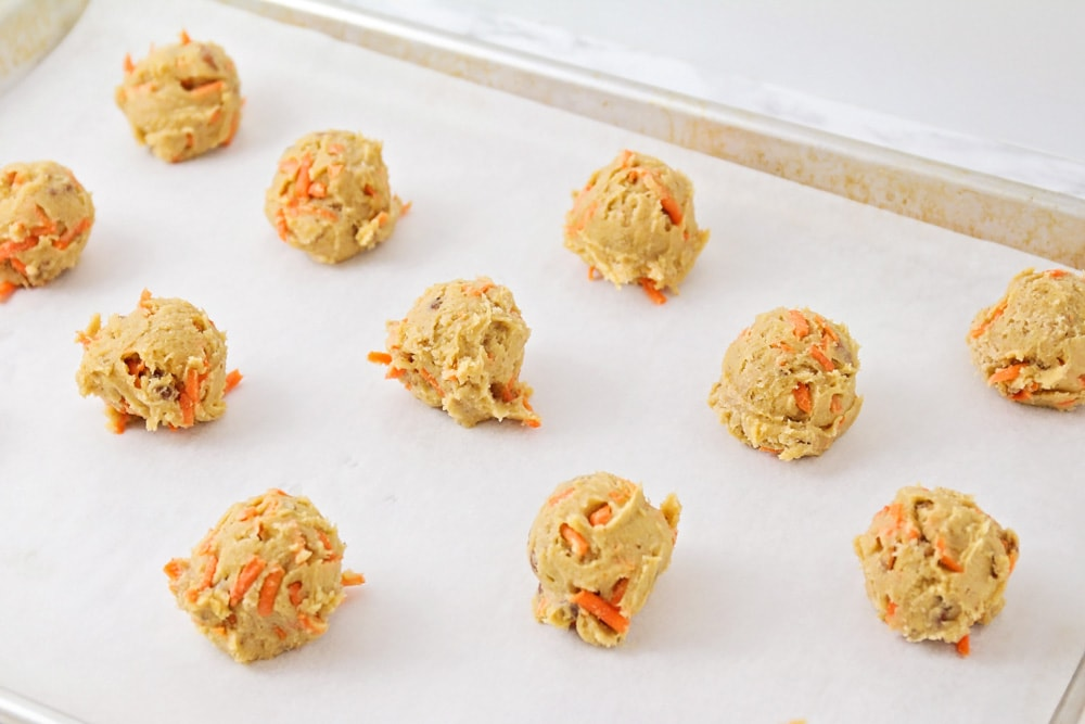 carrot cookies in dough balls