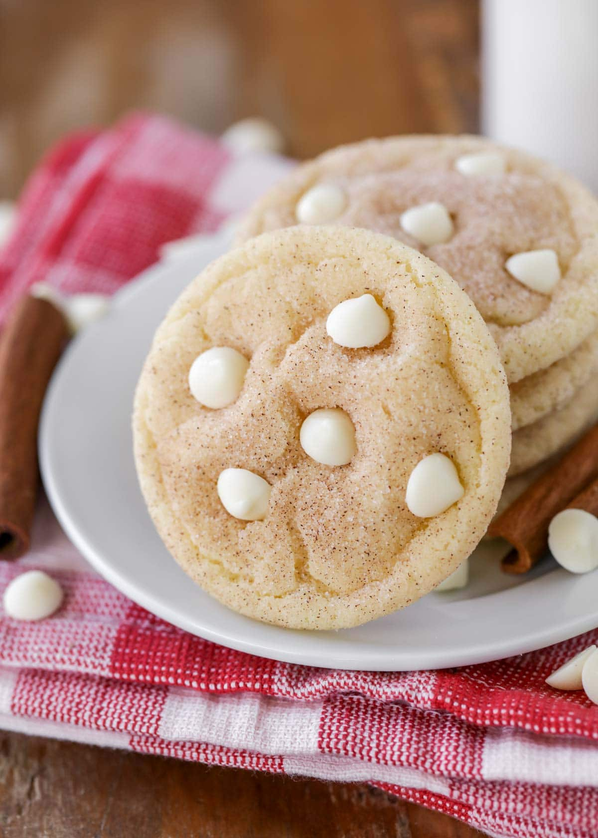 Snickerdoodle cookies with white chocolate chips