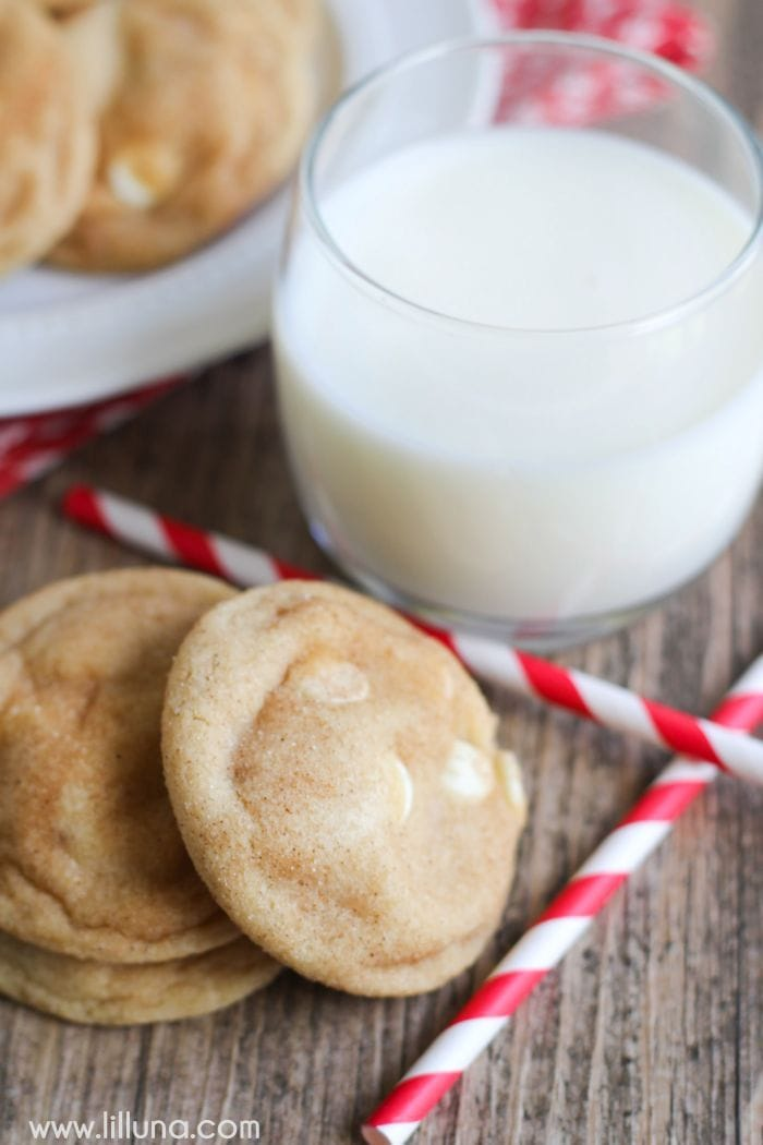White Chocolate Snickerdoodles - adding white chips make this already delicious cookie even better!! We love them!