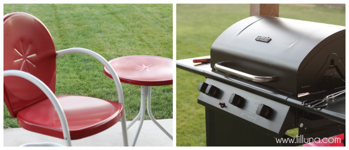 Grill and patio furniture