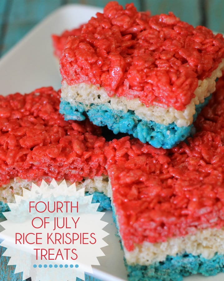 Red White and Blue Fourth of July Rice Krispies Treats. So festive quick and easy birthday cakes to make 9 on quick and easy birthday cakes to make