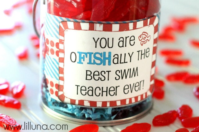 Swim Teacher Appreciation Gift!! Inexpensive, but cute idea!!