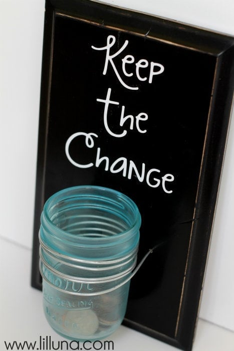 Keep the Change Laundry Sign Tutorial!! Cute and a great way to gather & save change!!