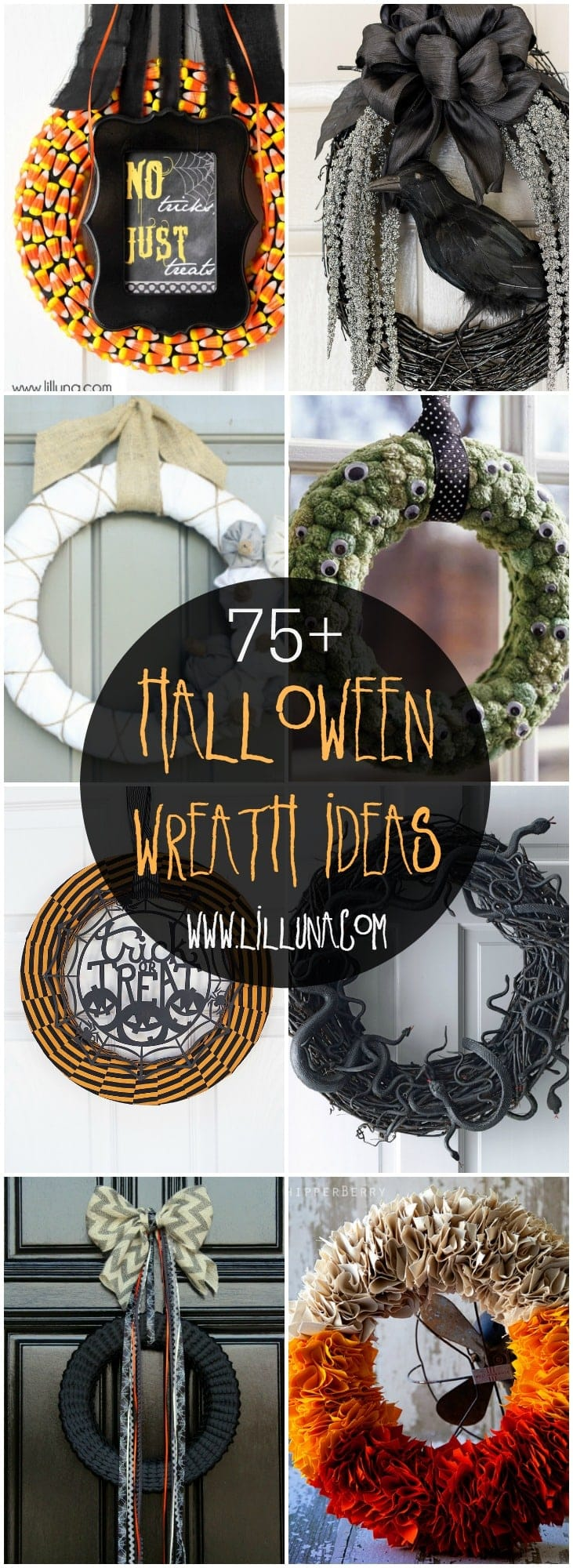 A spooky, black, orange and fun collection of 75+ Halloween Wreaths. Gather your friends and get together to make one of these amazing wreaths!