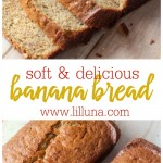 Our FAVORITE banana bread recipe. It's so simple, moist and delicious! The kids can't get enough of this great recipe.