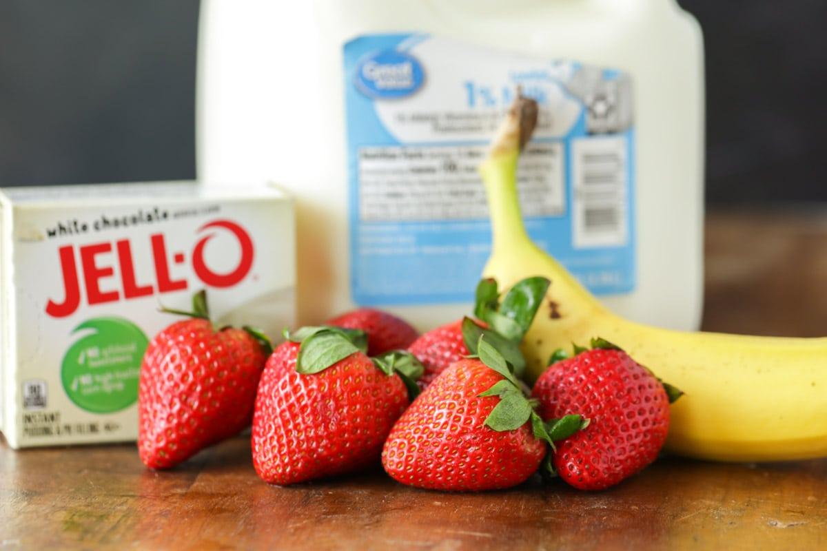 Strawberries, banana, pudding mix, and milk