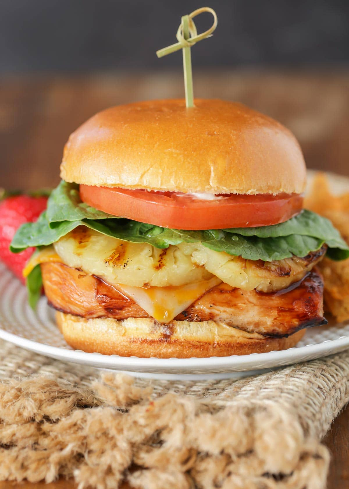 Teriyaki chicken burger recipe on plate
