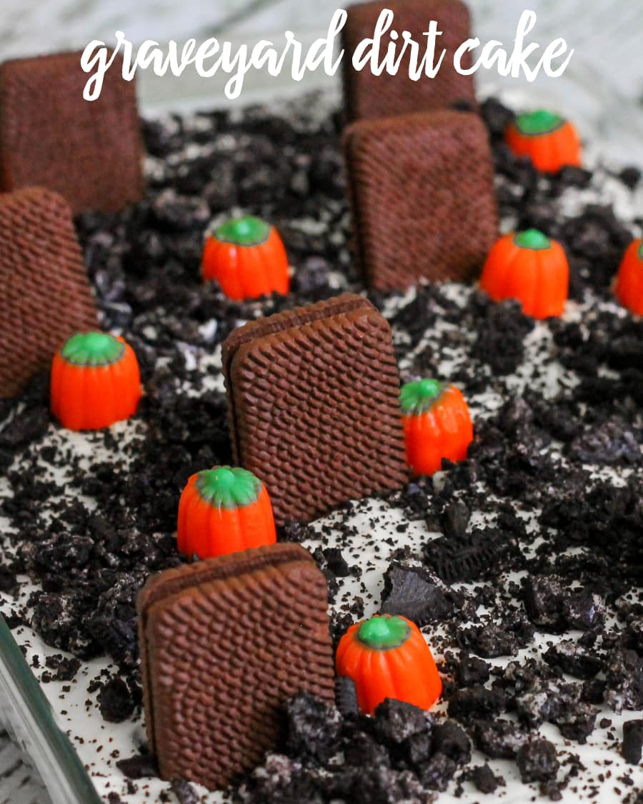 Graveyard Dirt Cake! Perfect dessert for Halloween! { lilluna.com } Delicious pudding, oreos, cookies, & candies!!