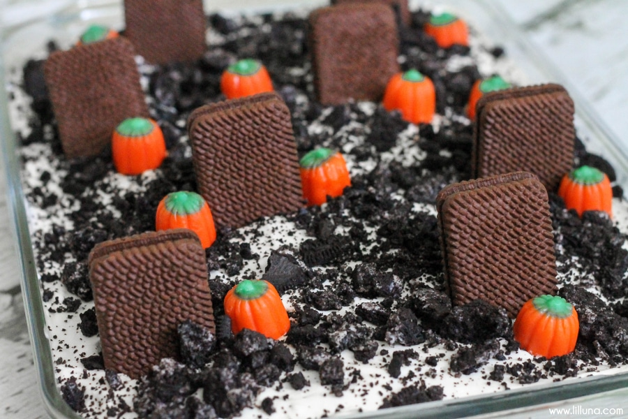 Halloween Cakes - Graveyard dirt cake in a glass pan