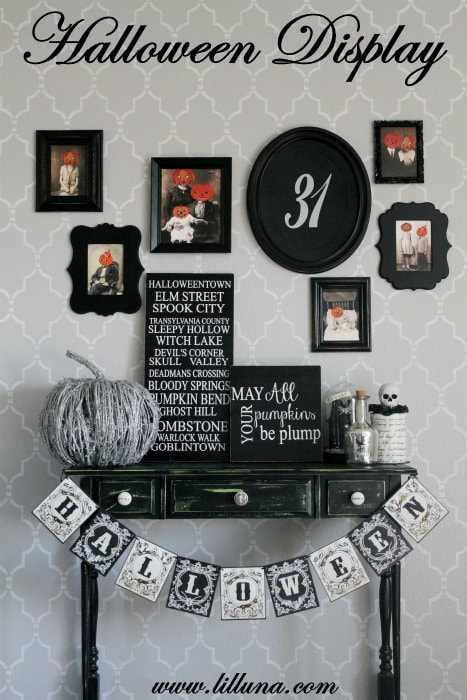 Halloween Display on { lilluna.com } Great ideas to get an awesome Halloween look!