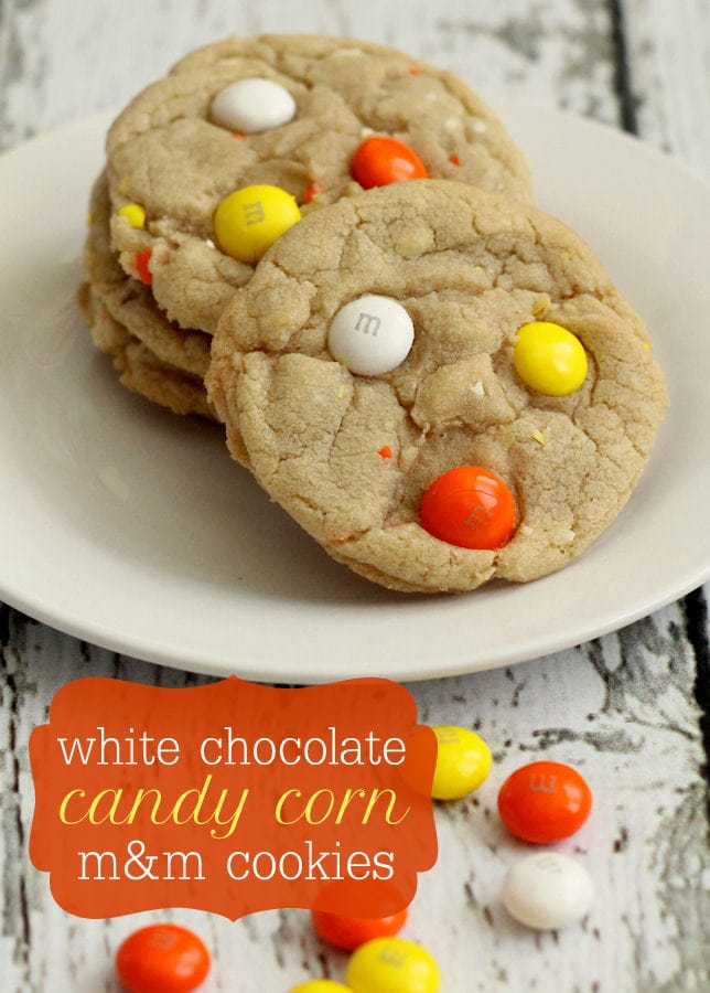 White Chocolate Candy Corn M&M Cookies recipe on { lilluna.com } #cookies